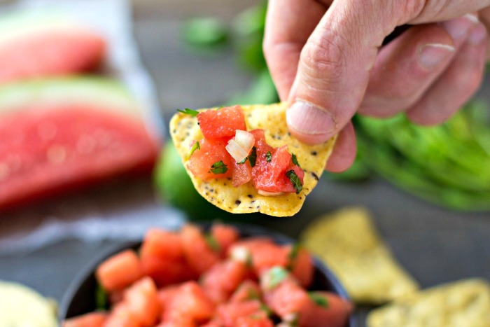 This watermelon salsa is such a unique, healthy appetizer recipe!