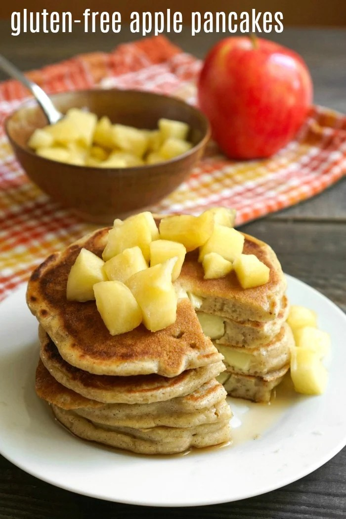 These gluten free apple pancakes are the perfect fall breakfast! My family loves this healthy recipe for an autumn morning.