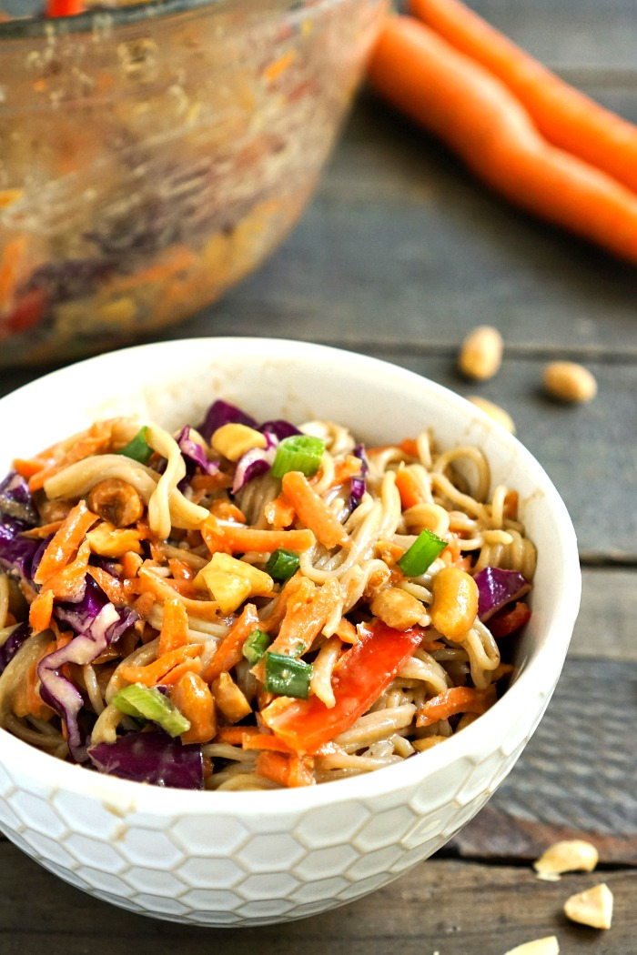 This peanut ramen noodle salad is a healthy, delicious recipe for lunch or dinner. It also makes a wonderful side dish at a potluck meal. Gluten-free, vegan recipe from @realfoodrecipes realfoodrealdeals.com