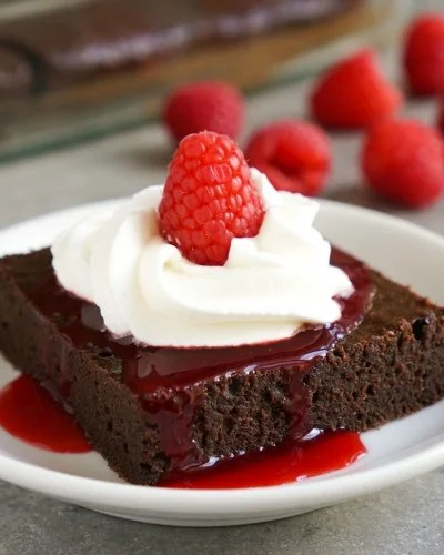 Fudge Brownies with Raspberry Sauce