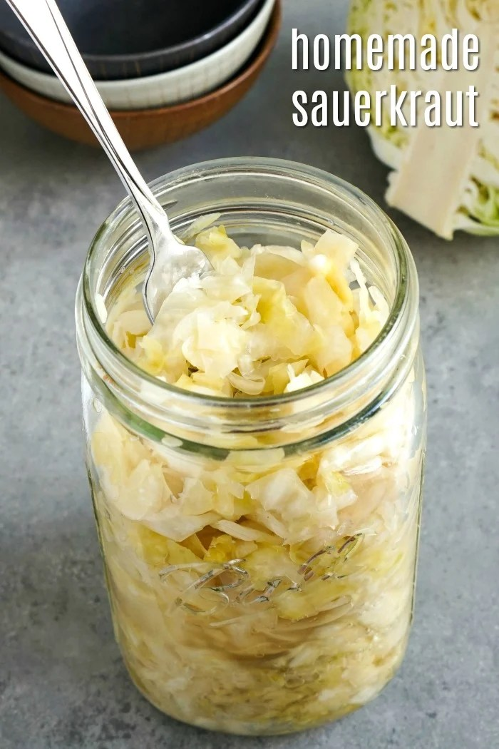 This easy homemade sauerkraut recipe is so healthy and delicious! It's a great fermented side dish that can contribute to good gut health. (Gluten-free, vegan)