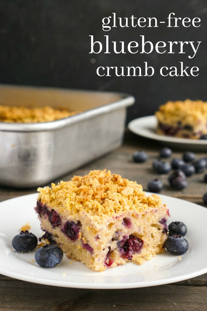 This easy gluten free blueberry crumb cake is such a light, delicious dessert recipe! The blueberry flavor is irresistible.