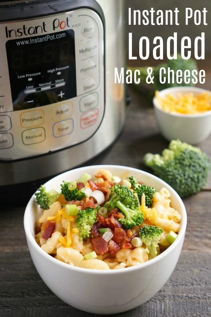 This Loaded Instant Pot Mac and Cheese is such a delicious comfort food recipe! It's similar to a loaded baked potato, but the flavor is even better.