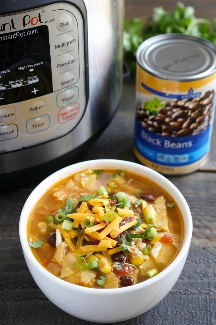 This Instant Pot chicken tortilla soup is such an easy, healthy one-pot dinner recipe! It's great for a quick meal on a busy night.
