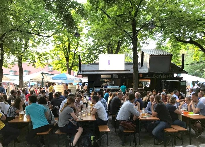 Biergartens are traditional gathering places for food and drink throughout Germany.