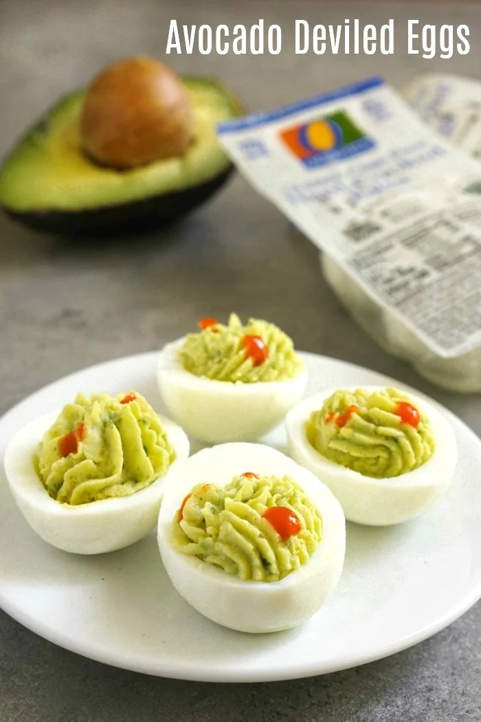 These Avocado Deviled Eggs are a delicious snack or addition to a lunch box. They're so simple to make, and the flavor is amazing!