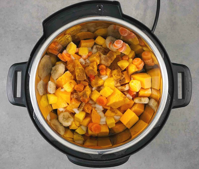 The ingredients of this squash soup cook quickly in the Instant Pot.
