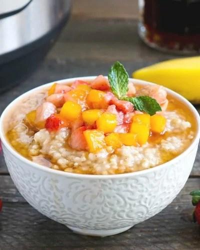 Instant Pot steel cut oatmeal is the best vegan breakfast!