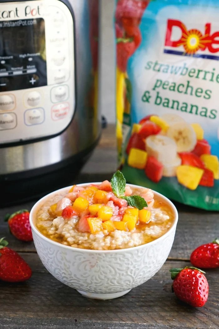 This Instant Pot steel cut oatmeal recipe is such an easy, delicious breakfast full of fruit flavor. The cook time is just three minutes, and it comes out perfectly every time!