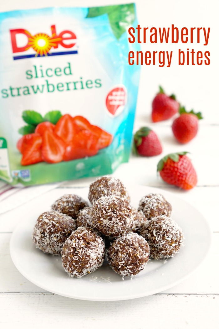 These strawberry energy bites with dates are such an easy, healthy snack. They taste like dessert, but they're actually good for you!