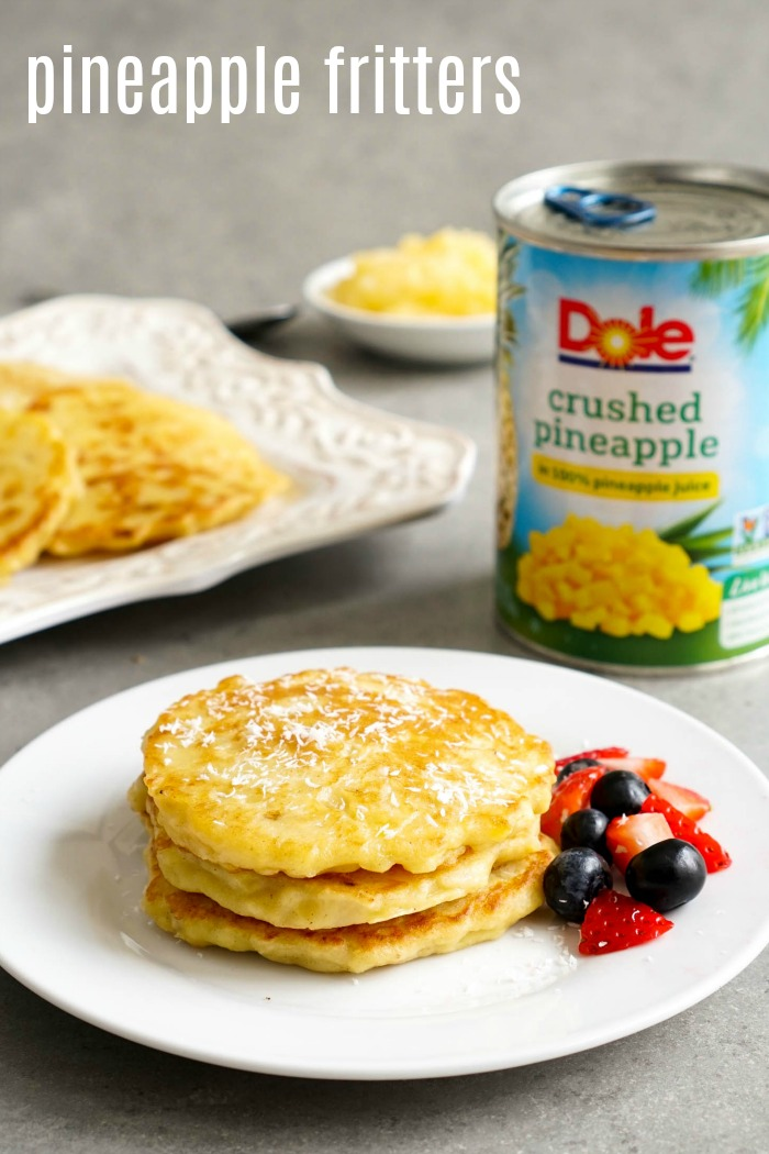 These tropical pineapple fritters are the best easy snack! They're full of fruit flavor, and you only need 5 ingredients to make these healthy pineapple pancakes.
