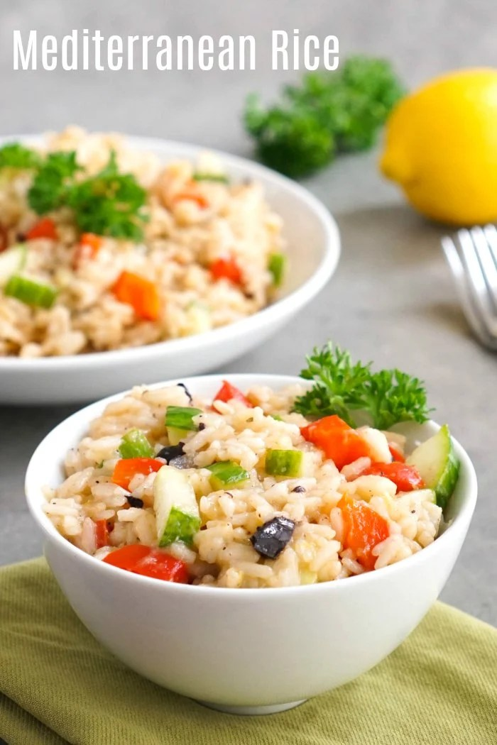This Mediterranean rice is a delicious, lemon rice side dish that goes well with so many things! Make this recipe using jasmine rice in the Instant Pot or on the stove.