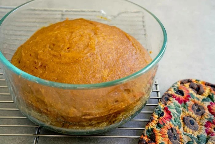 You can make pressure cooker pumpkin bread using a round glass container instead of loaf pans.