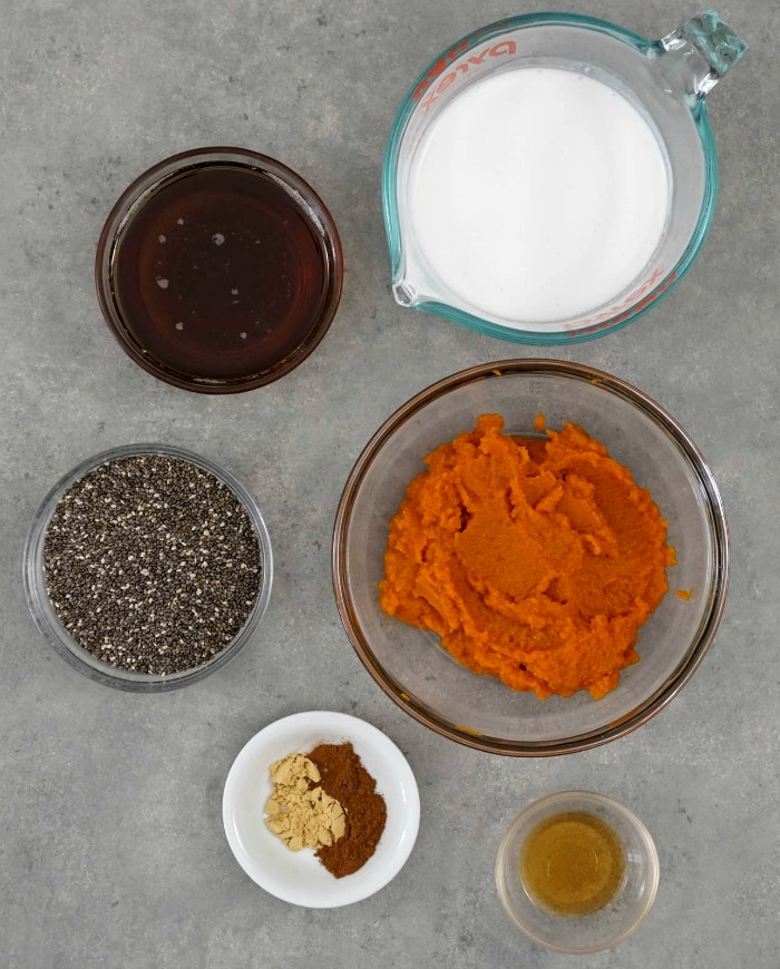 All the ingredients in this chia pudding