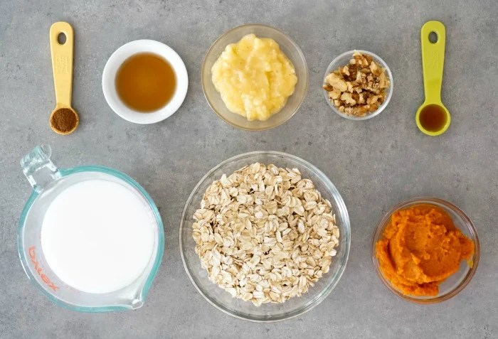 Pumpkin overnights oats ingredients