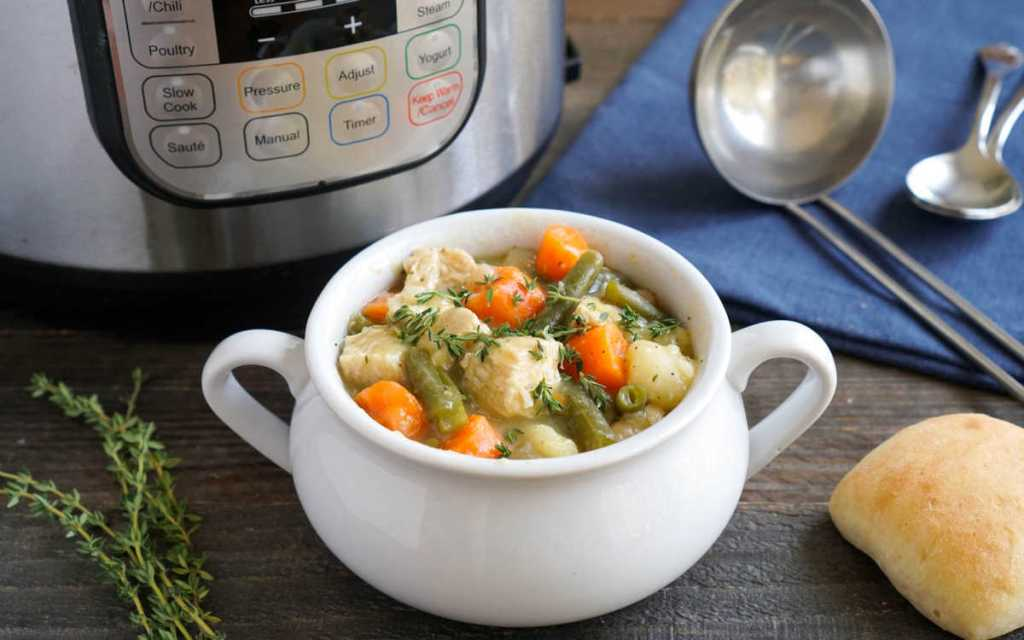 Instant Pot chicken stew in a soup crock