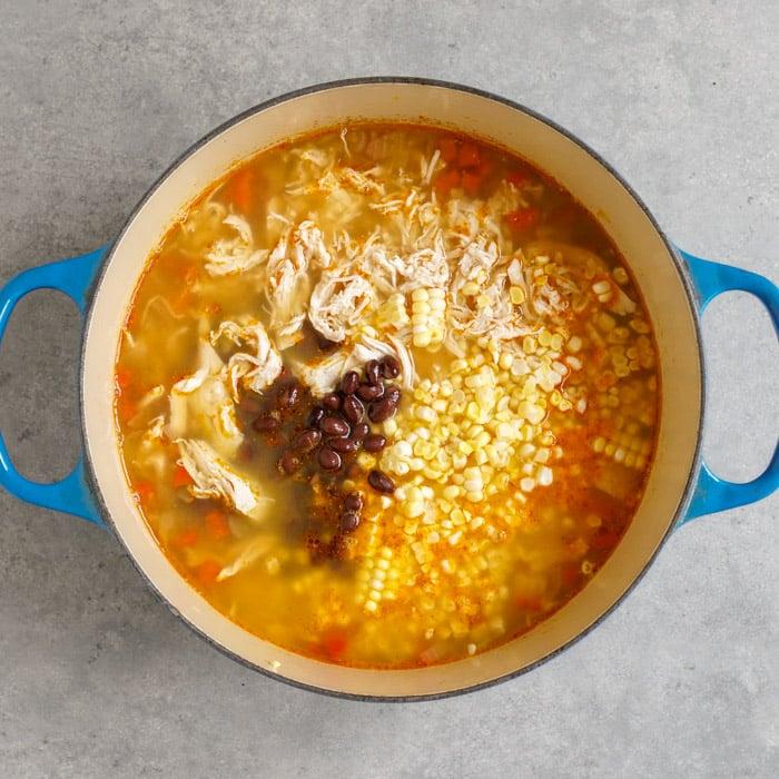 Southwestern chicken soup in pot