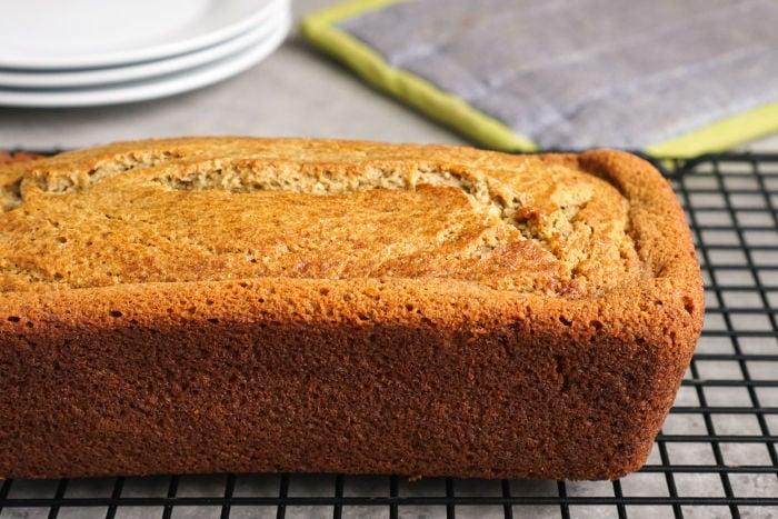 Oat flour banana bread on cooling rack