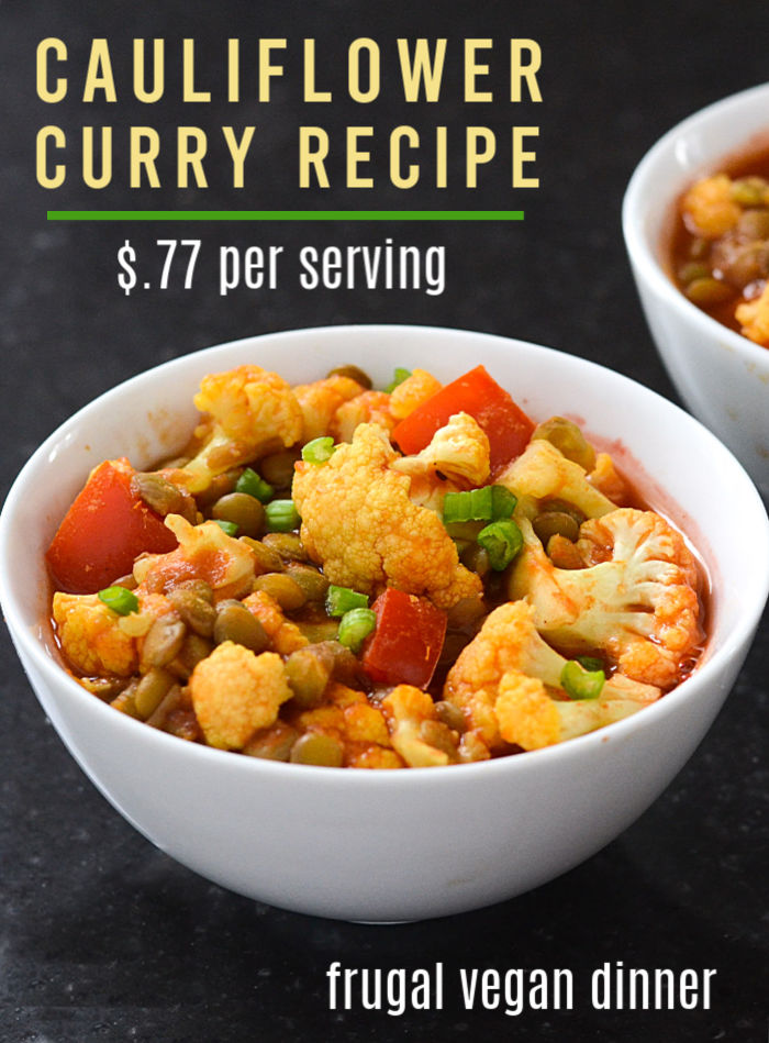 This cauliflower curry is the best cheap vegan meal!
