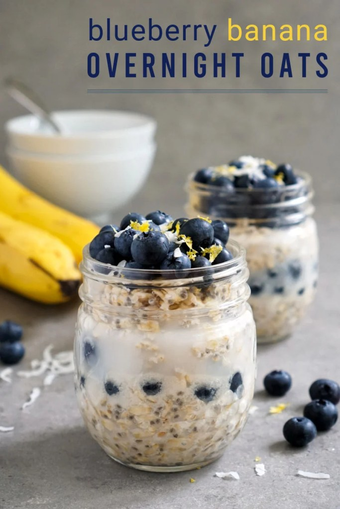 Blueberry overnight oats in jars
