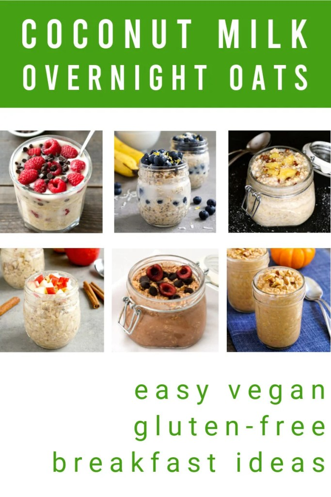 Coconut milk overnight oats collage