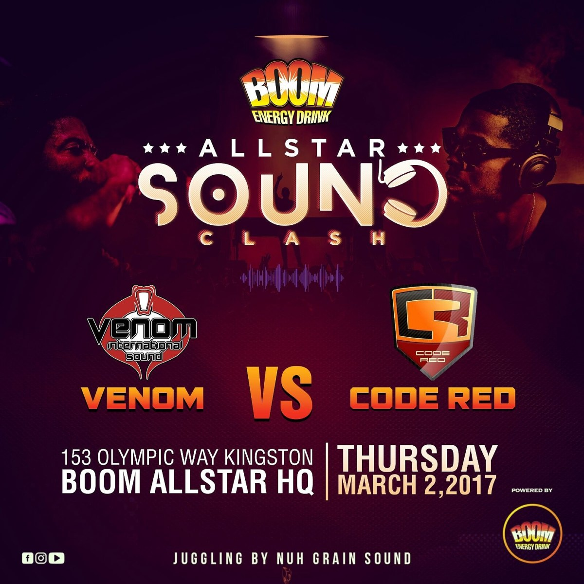 CODE RED VS VENOM SOUND @ALL STAR BOOM CLASH MARCH 2ND 2017