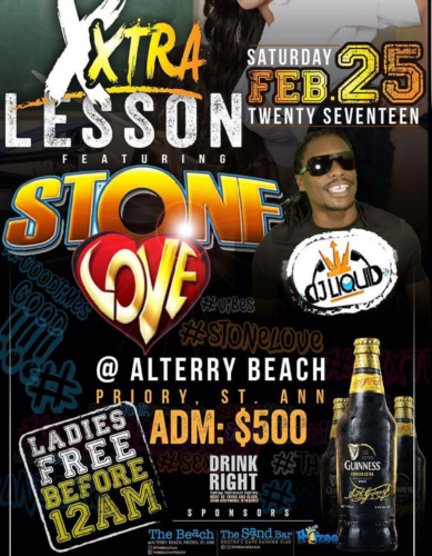 STONE LOVE AT XTRA LESSON, ALTERRY BEACH ST ANN 25TH FEBRUARY 2017