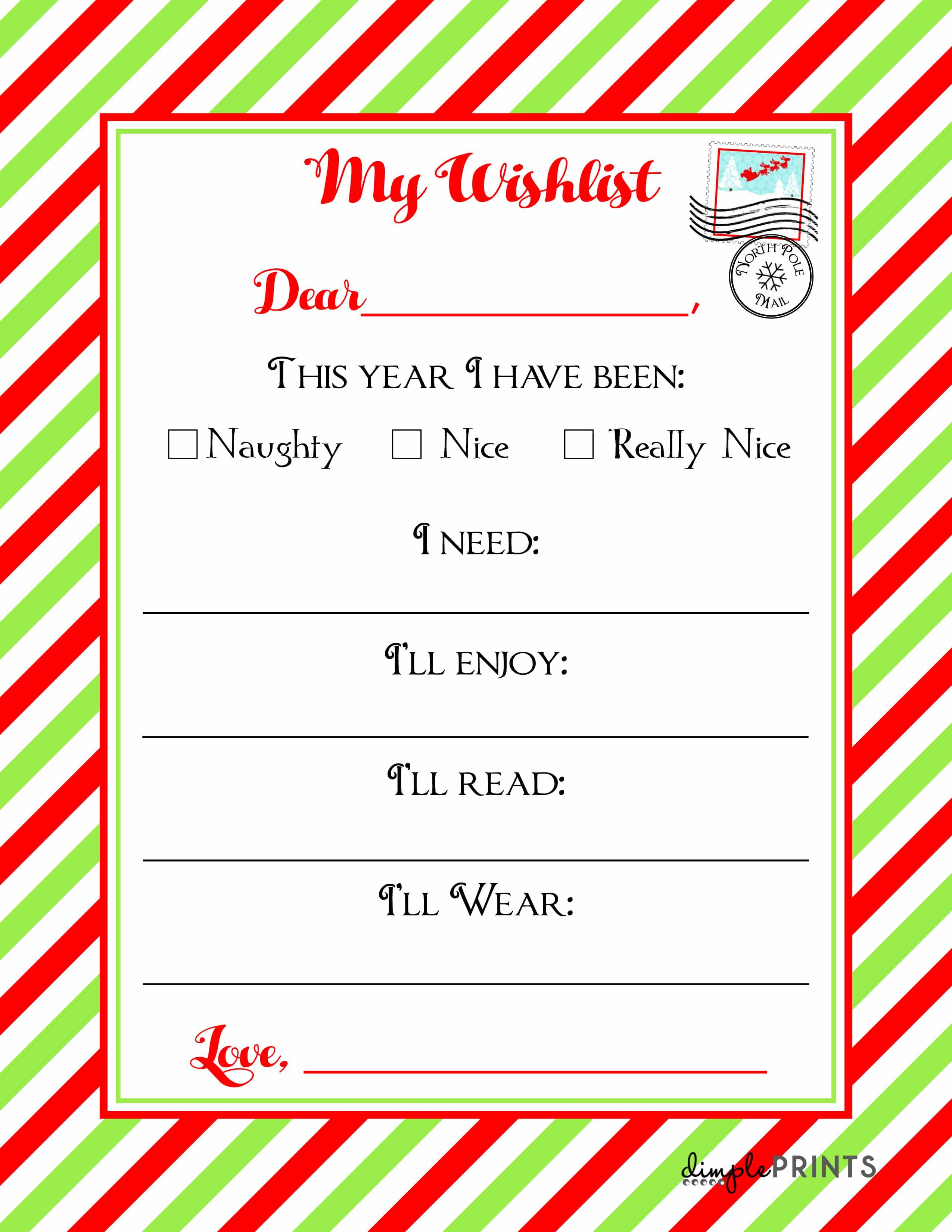 Christmas Wishlist Printable Letter Real Housemoms