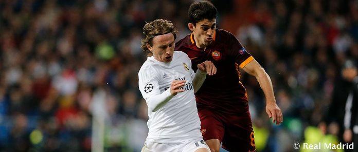 Modric lucha con Perotti. Fuente:realmadrid.com