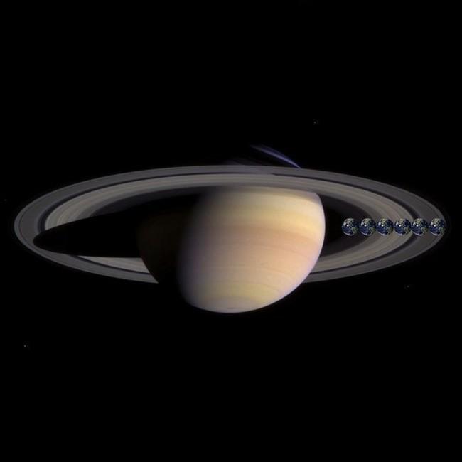 E aqui está o tamanho da Terra (ou melhor, seis vezes a Terra) comparado com Saturno