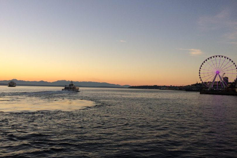 Sunset, ferries, Ferris wheel, Olympic Mountains from Seattle waterfront