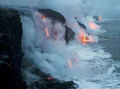 Lava from volcanoes pouring into the sea