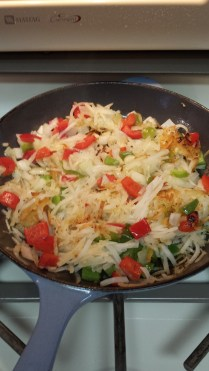 Hashbrowns, red peppers, onions,