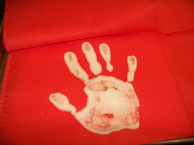 Bleached hand print