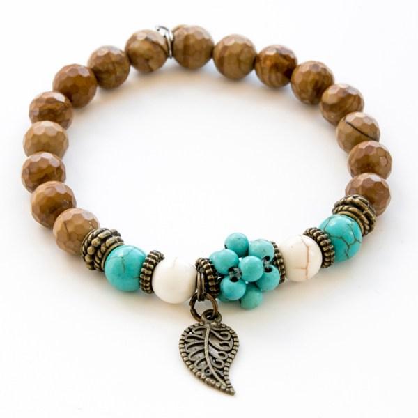 Bracelet turquoise, howlite et jaspe