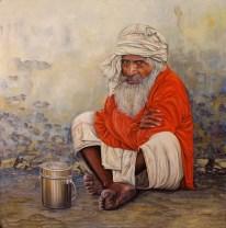 Autor. Pedro Vergara Título: Hombre de la India. Medidas: 100x100 cm. Técnica: Óleo / tabla