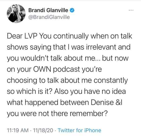Brandi Glanville Calls Out Lisa Vanderpump on Twitter