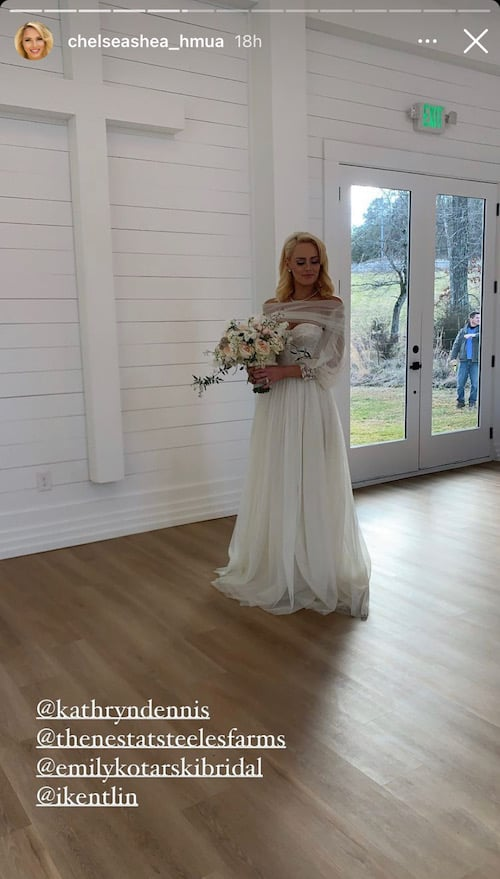 Southern Charm Kathryn Dennis Poses at Chapel in Wedding Gown