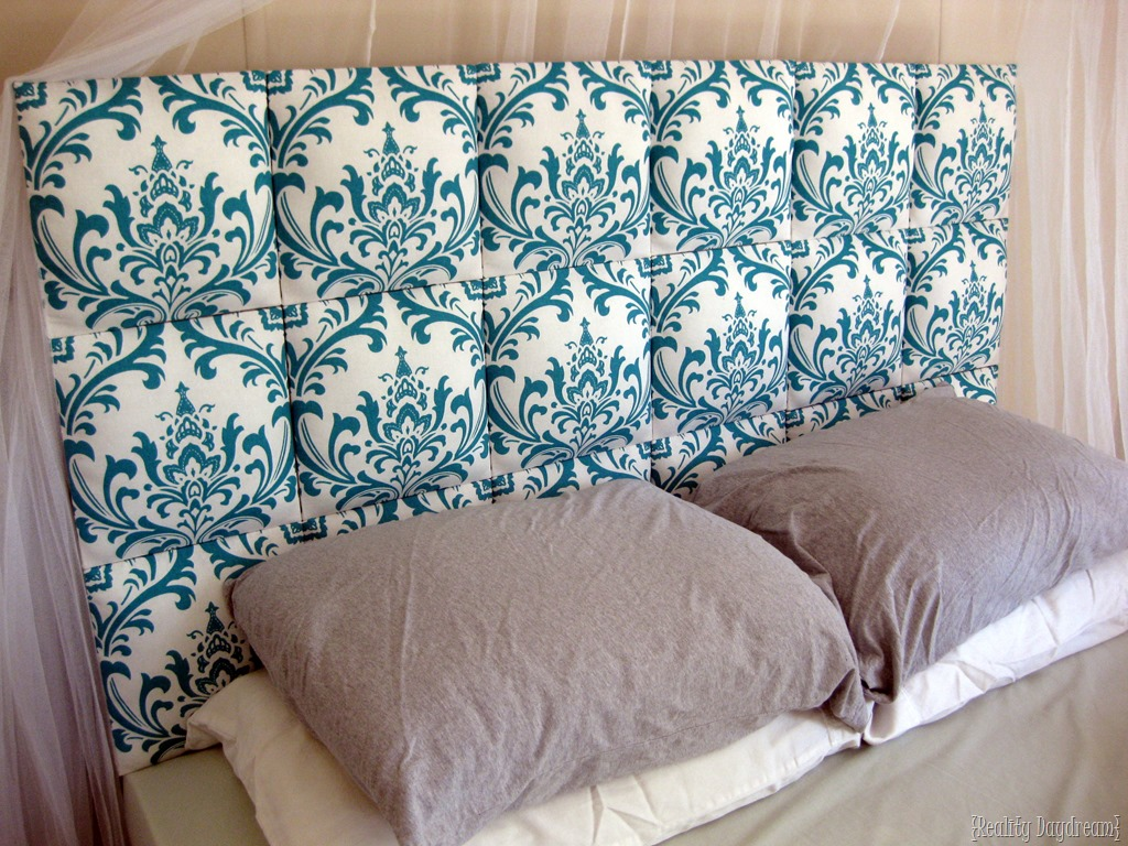 Easy Upholstered Tufter Headboard Tutorial   Reality Day Dream Individual upholstered squares lined up to make a tufted DIY headboard