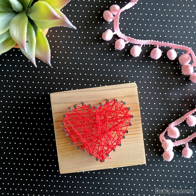 Heart shaped String Art for kids! A fun Valentine's Day craft {Reality Daydream}