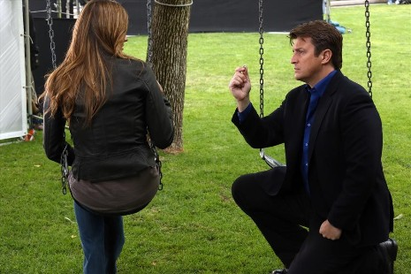"CASTLE - ""Watershed"" - In the Season Finale, an interview with a high-profile federal law enforcement agency forces Beckett to reconsider what she wants out of her job -- and out of her relationship with Castle. Meanwhile, the body of a young woman is found floating inside the water tank of a skid row flop house, but as the team investigate, they discover that her final resting place is just one of many strange things about her death, on ""Castle,"" MONDAY, MAY 13 (10:01-11:00 p.m., ET) on the ABC Television Network. (ABC/Richard Cartwright) STANA KATIC, NATHAN FILLION"