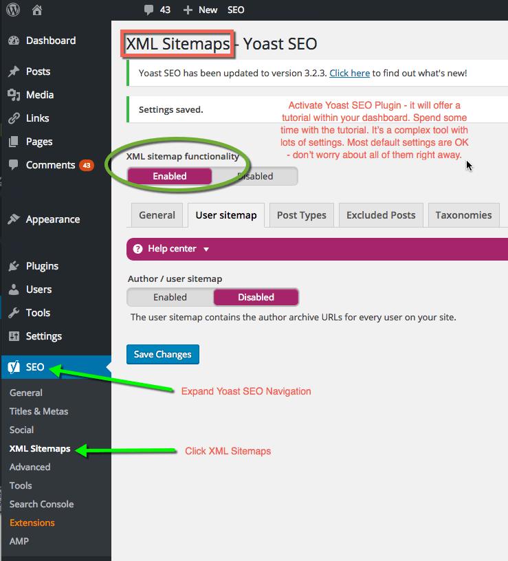 Yoast SEO Dashboard WordPress