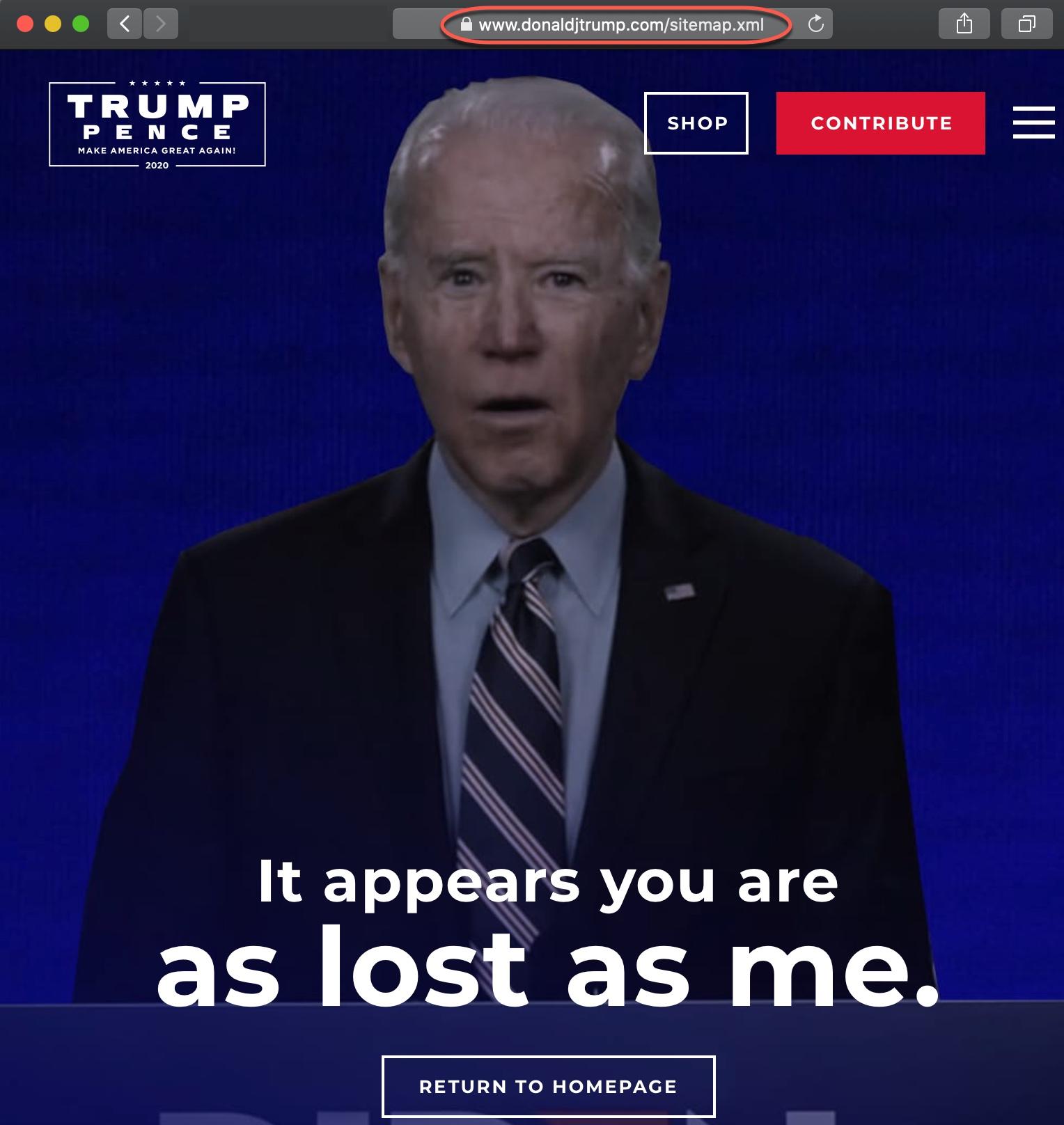 DonaldJTrump.com 404 Error Page