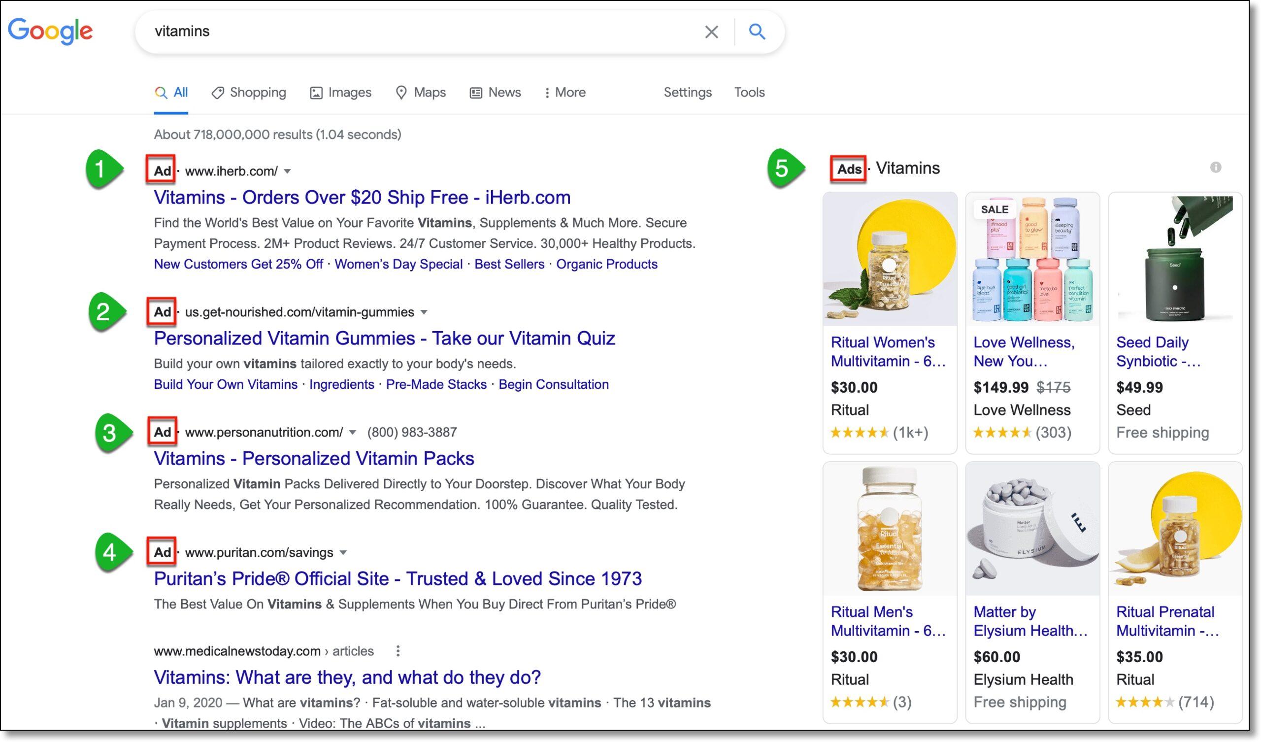 Google Search Vitamin Ads