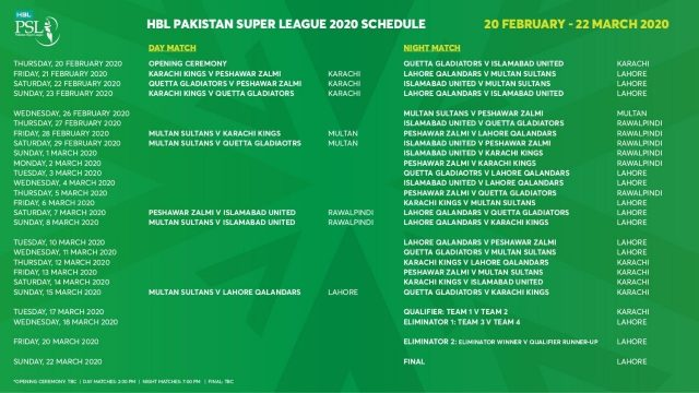 PSL 2020 Schedule and Fixtures | Pakistan Super League 2020