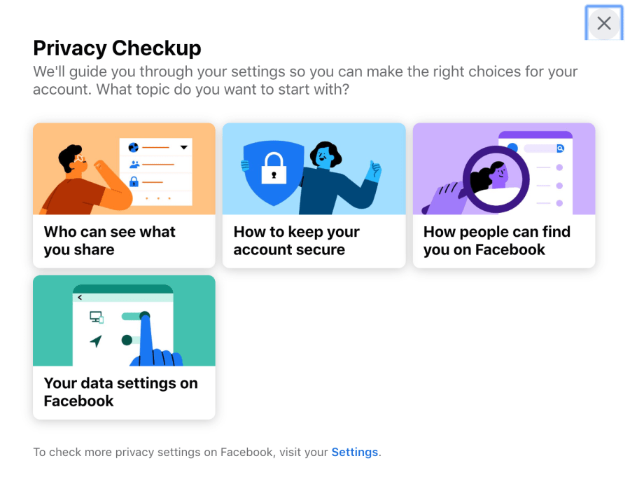 Screenshot of the four privacy setting modules in Facebook
