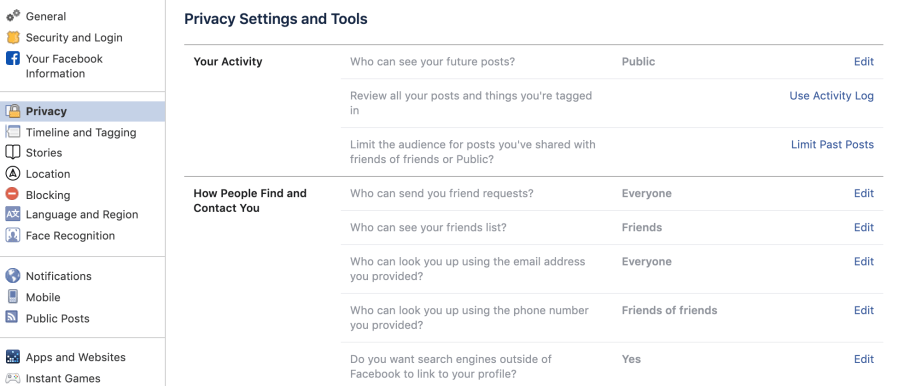 Screenshot of Privacy Settings within the Facebook website.