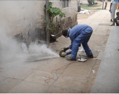 cutting concrete to trace the plumbing system
