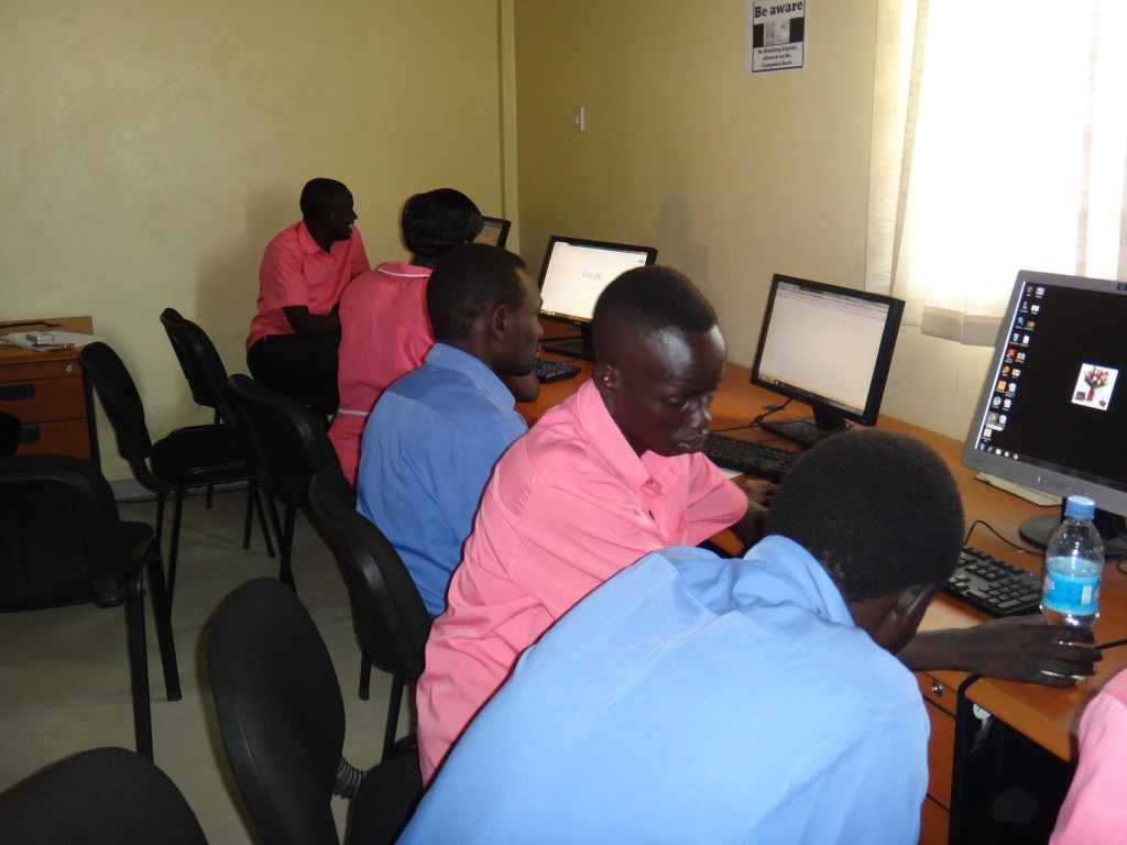 JCONAM nursing and midwifery students in the computer lab