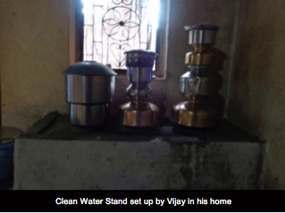 clean water stand set up by vijay in his home